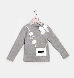 MaeLi Rose Bow & Purse Top Gray