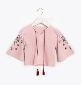 MaeLi Rose Embroidered Bell Sleeve Top Blush
