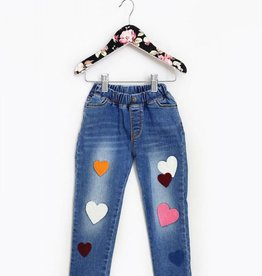 MaeLi Rose Heart Patch Jeans Blue