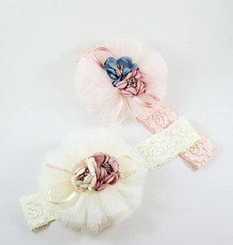 MaeLi Rose Bouquet Elastic Headband Ivory