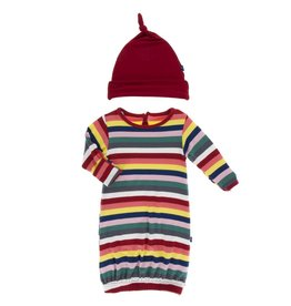 Kickee Pants Layette Gown & Hat Bright London Stripe
