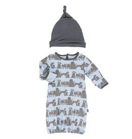 Kickee Pants Layette Gown & Hat London Dogs