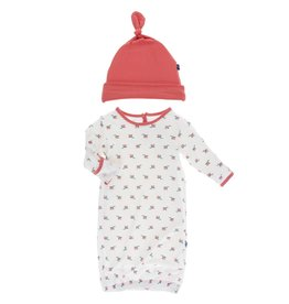 Kickee Pants Layette Gown & Hat Natural Rose Bud