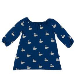 Kickee Pants LS Peasant Dress Navy Queen's Swans