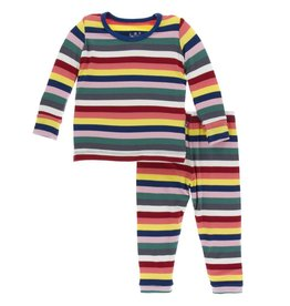 Kickee Pants LS PJ Set Bright London Stripe