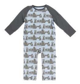 Kickee Pants LS Raglan Romper London Dogs