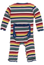 Kickee Pants Muff. Ruff. Snap Coverall Bright London Stripe
