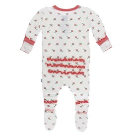 Kickee Pants Muff. Ruff. Snap Footie Natural Rose Bud