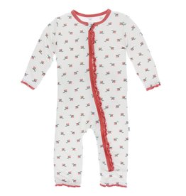 Kickee Pants Muff. Ruff. Zip Coverall Natural Rose Bud