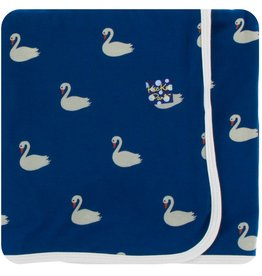 Kickee Pants Swaddle Blanket Navy Queen Swans
