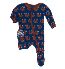 Kickee Pants Zip Footie Navy Fox