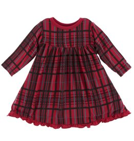 Kickee Pants Classic LS Swing Dress Christmas Plaid