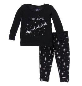 Kickee Pants LS PJ Set Silver Bright Stars