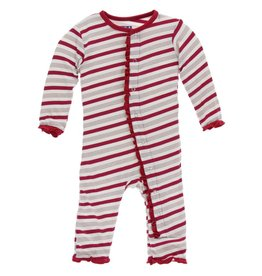 Kickee Pants Muff. Ruff. Snap Coverall Rose Gold Candy Cane Stripe