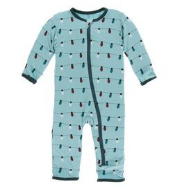 Kickee Pants Zip Coverall Glacier Holiday Lights