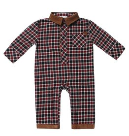 Fore!! Axel & Hudson LS Red/ Black Check Study Hall Flannel Romper