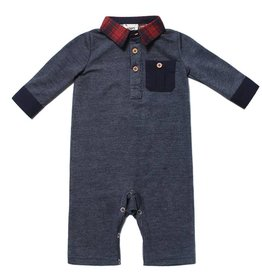 Fore!! Axel & Hudson LS Navy Lightweight French Terry Pocket Polo Romper