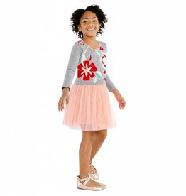 Masala Baby Charming Dress Floral Knit Silver Grey