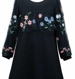 Hannah Banana/Baby Sara LS Knit Dress w/ Embroidered Mesh Detail Black