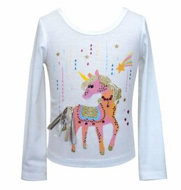 Hannah Banana/Baby Sara LS Unicorn Print Top White Multi