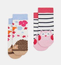 Joules Neat Feet Owl & Hedgehog 2pk Sock Set