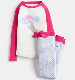 Joules Sleepwell LS Top & Pants Set Cream Unicorn