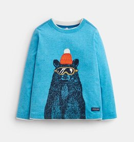 Joules Jack Applique Shirt Blue Marl Bear