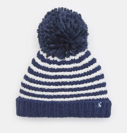 Joules Pomme Chenille Knitted Bobble Hat Navy Stripe