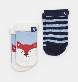 Joules Terry 2pk Soft Socks Sky Blue Fox
