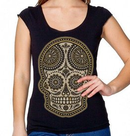 Sugar Skull Scoop Top