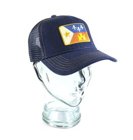 Acadian Flag Denim Trucker Hat Navy/Gold