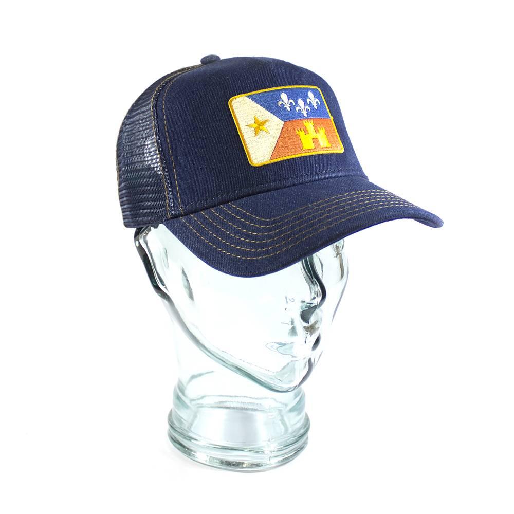 Acadian Flag Denim Trucker Hat Navy/Gold