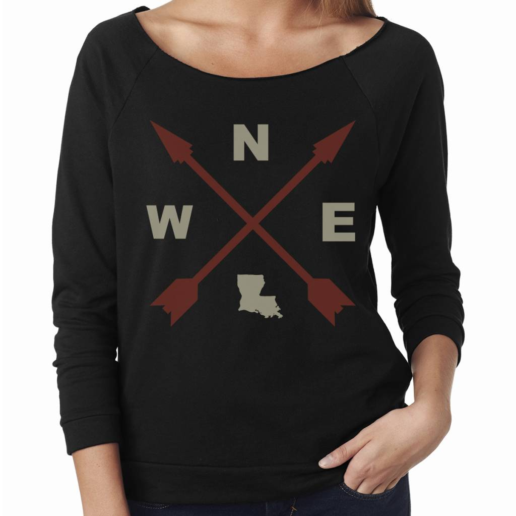 Louisiana Compass Womens Tee Wide Neck Sweatshirt
