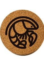 Crawfish Icon Round Cork Coaster