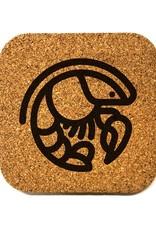 Crawfish Icon Square Cork Coaster