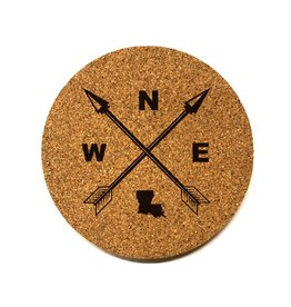 Louisiana Compass Round Cork Coaster