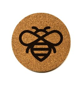 Honeybee Icon Round Cork Coaster