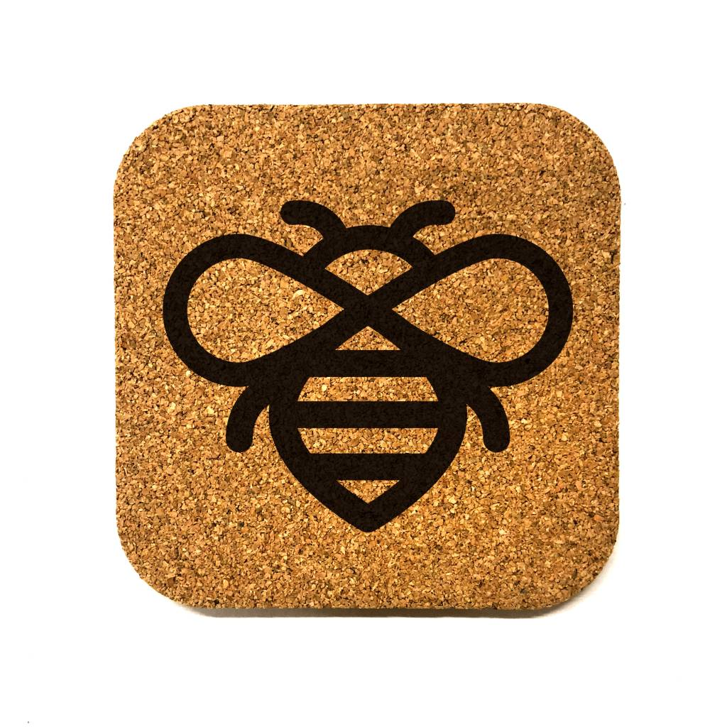 Honeybee Icon Square Cork Coaster