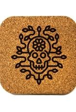 Flower Skull Square Cork Coaster