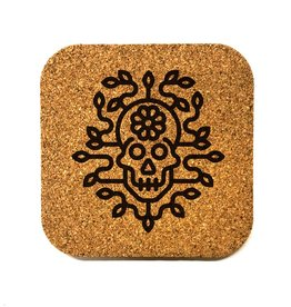 Flower Skull Square Cork Coaster