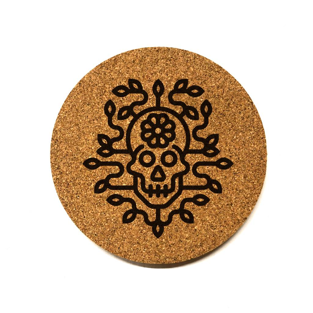 Flower Skull Round Cork Coaster