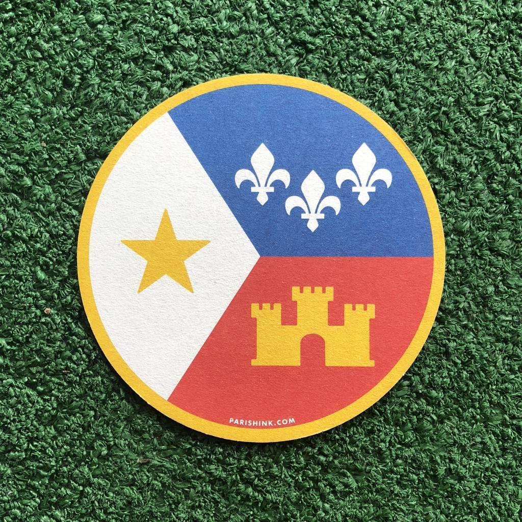 Acadian Flag Paper Coaster Set