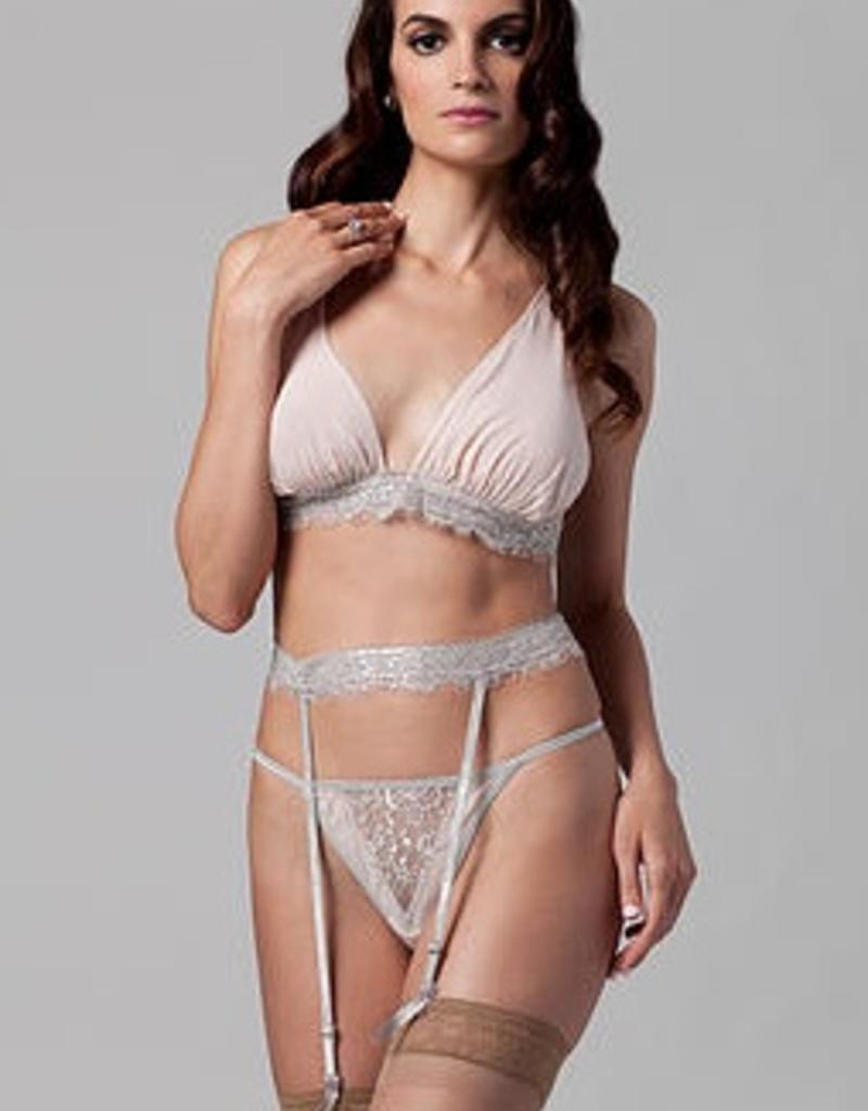 The Giving Bride Bralette - Blush Silk with Platinum Lace - Giving Bride