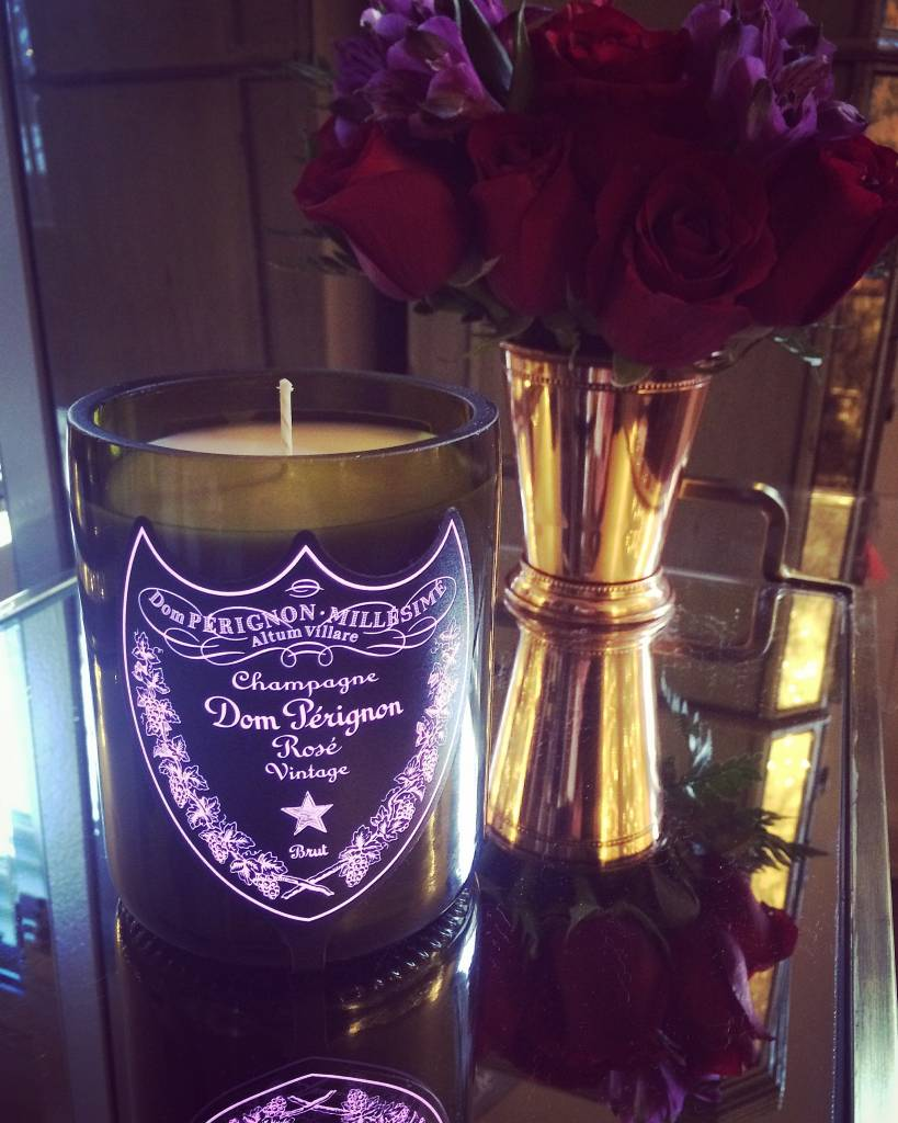 """Under the Influence Candles Dom Perignon Rose Champagne """"Sultry Amber Noir"""" Scent - Candles Under the Influence"""