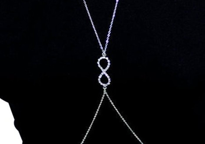 Body Chain - Silver tone Infinity Crystal