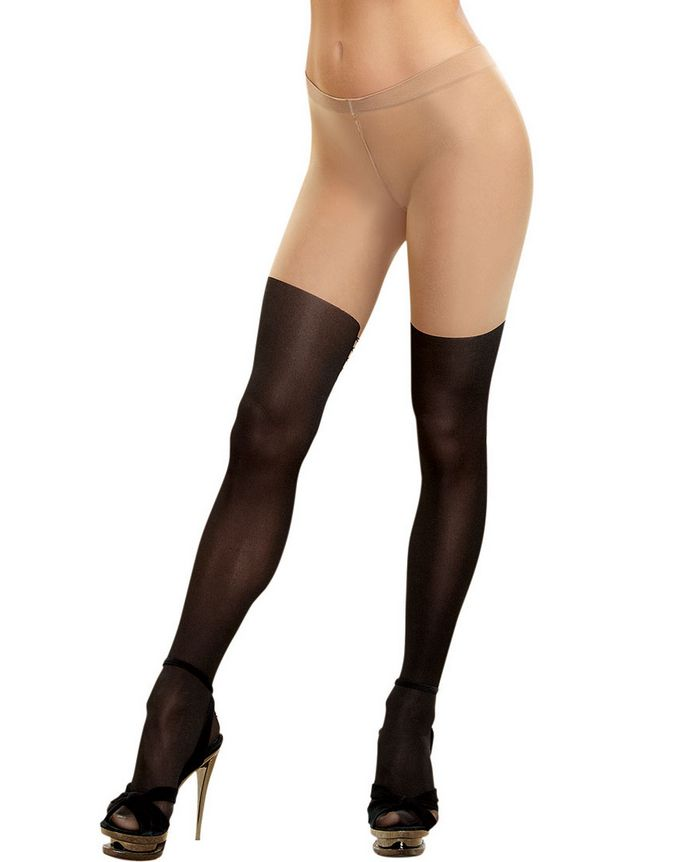 DreamGirl DreamGirl Hosiery - Boot Look Lace Back Pantyhose - 0220