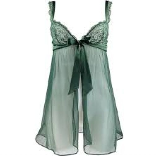 Andres Sarda Myanmar Sheer Green Babydoll and Thong - Andres Sarda