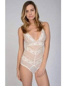 Samantha Chang White Filigree Body Suit - Samantha Chang