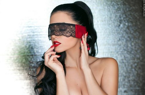 Nevaeh Nevaeh Emroidered Eye Mask Red Temptations Flame