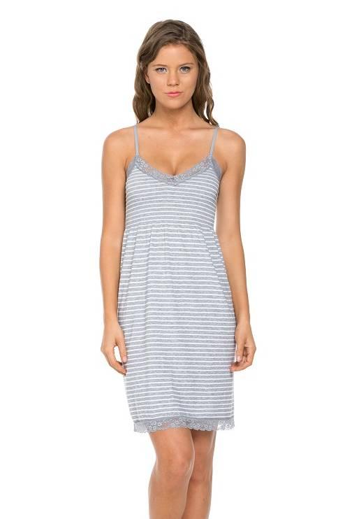 Marilyn Monroe Nightgown - Grey Stripe